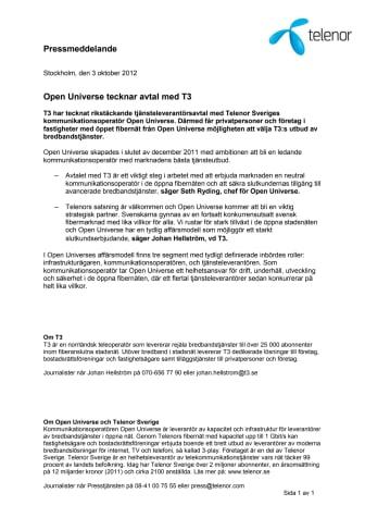 Open Universe tecknar avtal med T3