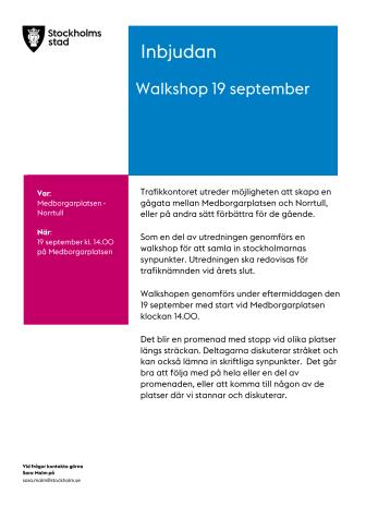 Inbjudan Walkshop lördagen den 19 september