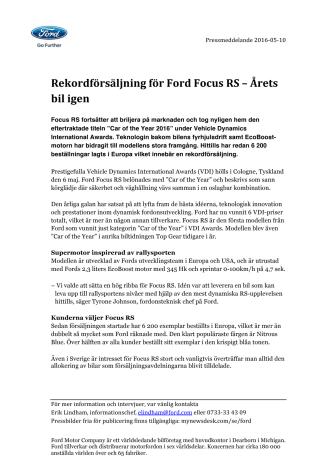 Rekordförsäljning för Ford Focus RS – Årets bil igen