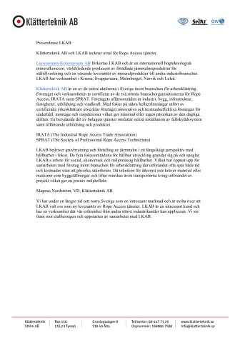 Klätterteknik AB och LKAB tecknar avtal