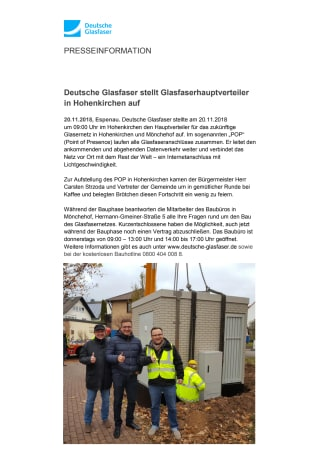 Deutsche Glasfaser stellt Glasfaserhauptverteiler in Hohenkirchen auf