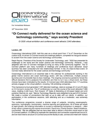 """""""Oi Connect really delivered for the ocean science and technology community,"""" says society President"""