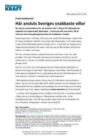 Här ansluts Sveriges snabbaste villor
