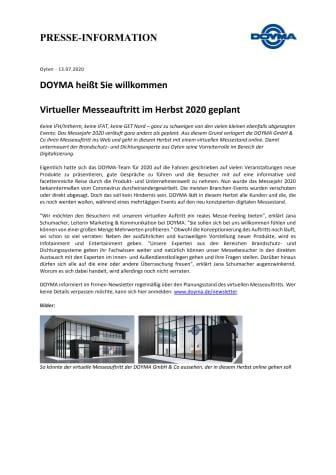 DOYMA-Pressemitteilung: Virtueller Messeauftritt im Herbst 2020 geplant