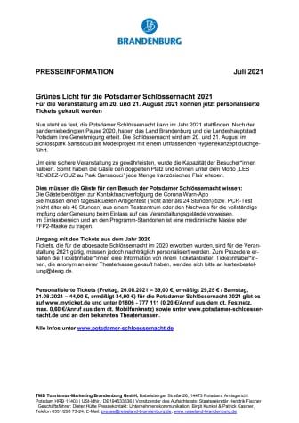 Grünes Licht für die Potsdamer Schlössernacht 2021