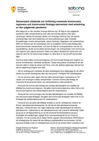 Gemensamt uttalande om inriktning avseende kommuners, regioners och kommunala företags samverkan med anledning av den pågående pandemin