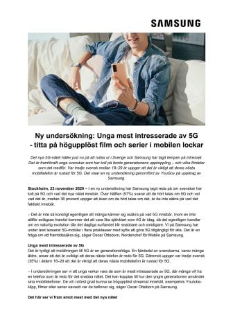Ny undersökning: Unga mest intresserade av 5G - titta på högupplöst film och serier i mobilen lockar