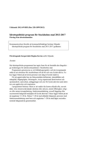 Regina Kevius (M): Beslut om nytt idrottspolitiskt program för ökad folkhälsa