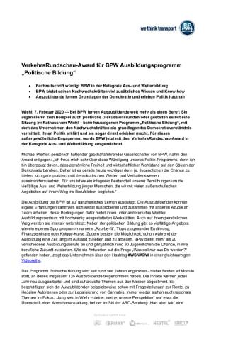 """VerkehrsRundschau-Award für BPW Ausbildungsprogramm """"Politische Bildung"""""""