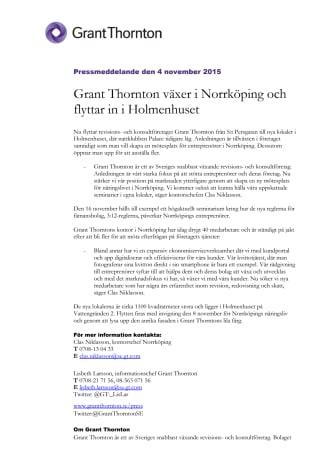 Grant Thornton växer i Norrköping och flyttar in i Holmenhuset