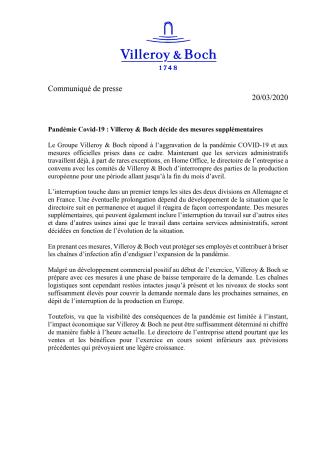 Pandémie Covid-19 : Villeroy & Boch décide des mesures supplémentaires