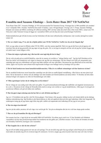 8 snabba frågor till Årets Ruter Dam 2017