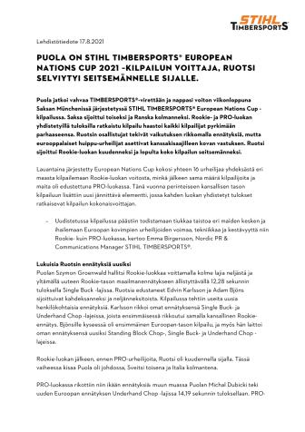 Puola on STIHL TIMBERSPORTS® European Nations Cup 2021 –kilpailun voittaja, Ruotsi selviytyi seitsemännelle sijalle..pdf