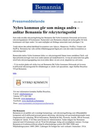 Nybro kommun gör som många andra – anlitar Bemannia för rekryteringsstöd