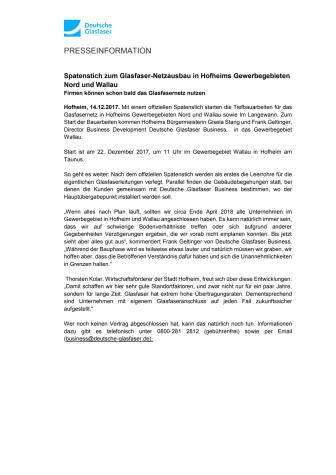 Spatenstich zum Glasfaser-Netzausbau in Hofheims Gewerbegebieten Nord und Wallau