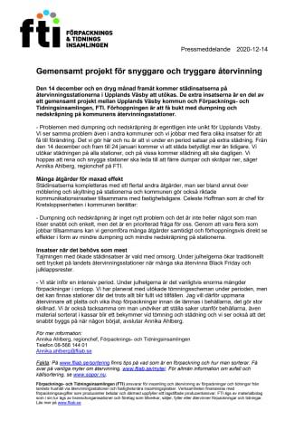 Gemensamt projekt för snyggare och tryggare återvinning