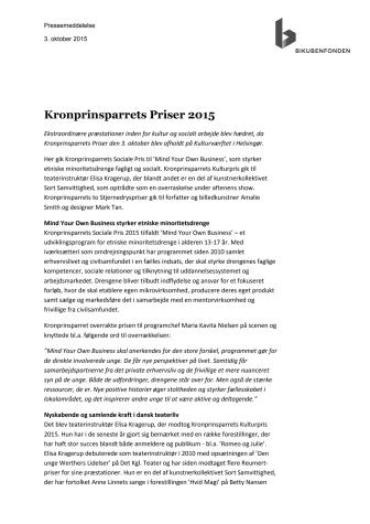 Kronprinsparrets Priser 2015
