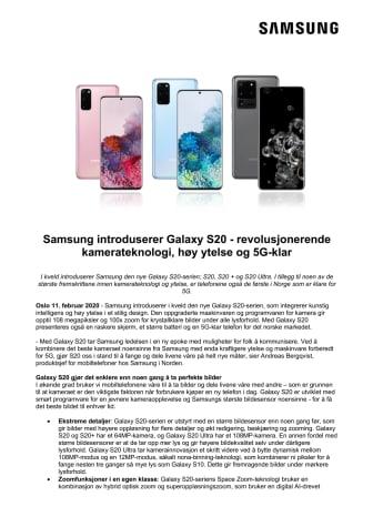 Samsung introduserer Galaxy S20 - revolusjonerende kamerateknologi, høy ytelse og 5G-klar