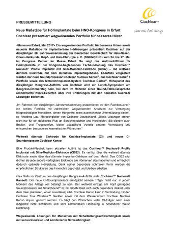 Neue Maßstäbe für Hörimplantate beim HNO-Kongress in Erfurt