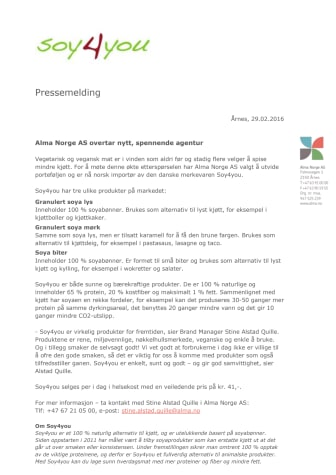 Alma Norge AS overtar nytt, spennende agentur