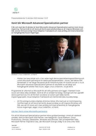 Xenit blir Microsoft Advanced Specialization partner