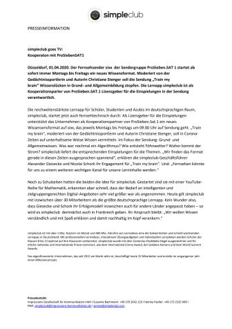 simpleclub goes TV: Kooperation mit ProSiebenSAT1