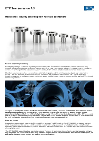 Machine tool Industry benefiting from hydraulic connections