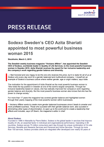Sodexo Sweden's CEO Azita Shariati appointed to most powerful business woman 2015