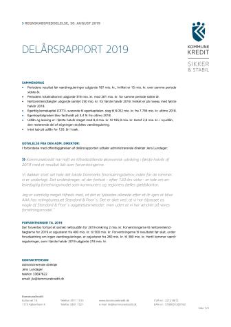 KommuneKredit offentliggør Delårsrapport 2019