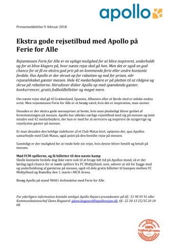 Ekstra gode rejsetilbud med Apollo på Ferie for Alle