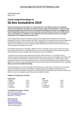 Svensk Fastighetsförmedlings vd: Så blev bostadsåret 2019