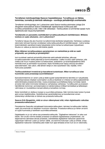 Terrafamen toimitusjohtaja Swecon haastattelussa: Turvallisuus on faktaa, toimintaa, tunnetta ja teknisiä ratkaisuja – sovittuja pelisääntöjä unohtamatta