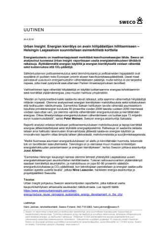 Urban Insight: Energian kierrätys on avain hiilipäästöjen hillitsemiseen – Helsingin Laajasaloon suunnitellaan esimerkillistä korttelia