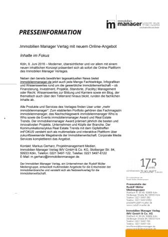 Immobilien Manager Verlag mit neuem Online-Angebot