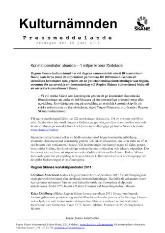 Konststipendiater utsedda – 1 miljon kronor fördelade