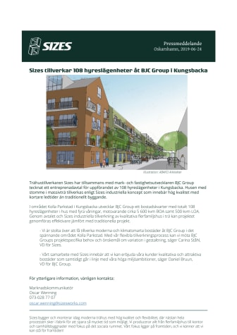 Sizes tillverkar 108 hyreslägenheter åt BJC Group i Kungsbacka