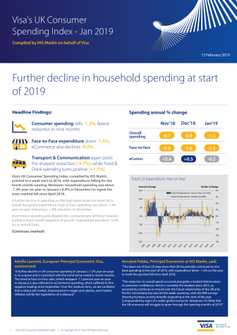 Visa's UK Consumer Spending Index - Jan 2019