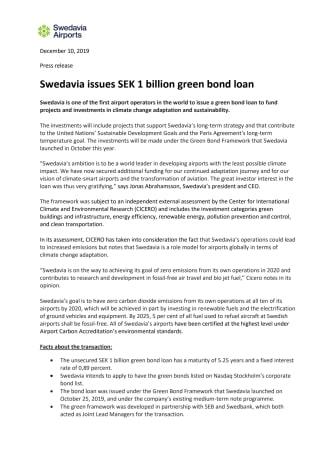 Swedavia issues SEK 1 billion green bond loan