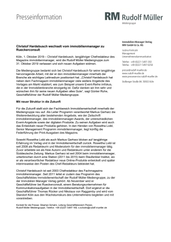 Christof Hardebusch wechselt vom immobilienmanager zu Rueckerconsult