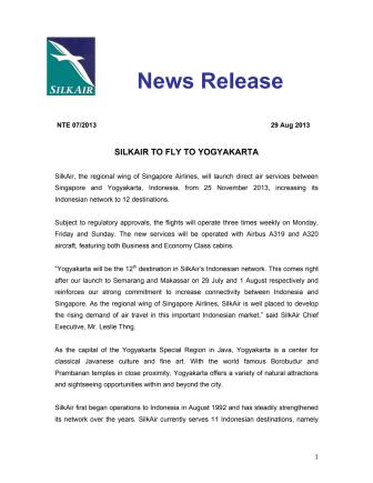 SilkAir to Fly to Yogyakarta