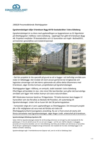 Egnahemsbolaget väljer Erlandsson Bygg AB för bostadsrätter i östra Göteborg