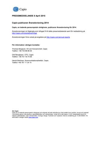 Capio publicerar Årsredovisning 2014