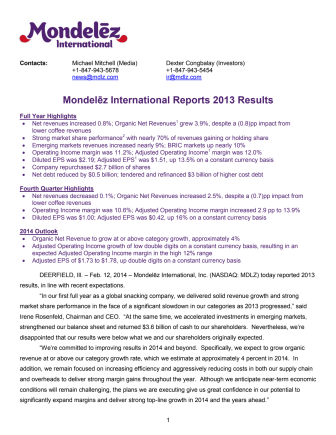 Mondelēz International Reports 2013 Results