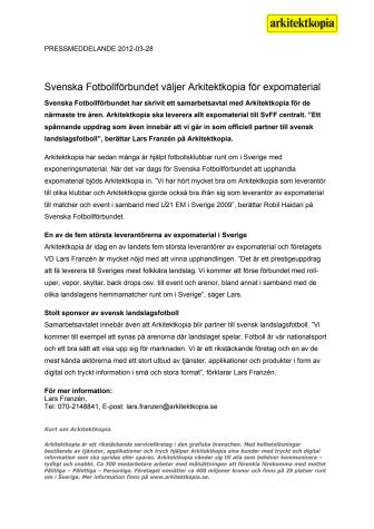 Svenska Fotbollförbundet väljer Arkitektkopia för expomaterial