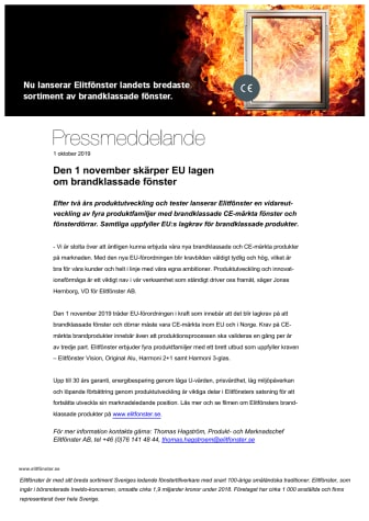 Den 1 november skärper EU lagen om brandklassade fönster