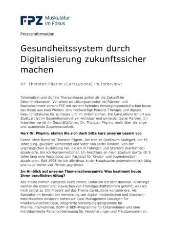 Dr. Thorsten Pilgrim (CareLutions) im Interview: Gesundheitssystem durch Digitalisierung zukunftssicher machen