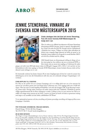 Jennie Stenerhag, vinnare av Svenska XCM Mästerskapen 2015