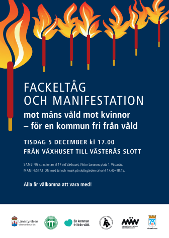 Affisch fackeltåg och manifestation mot våld