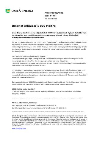 UmeNet erbjuder 1 000 Mbit/s