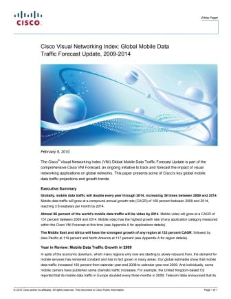 Cisco VNI Global Mobile Data forecast 2009-2014